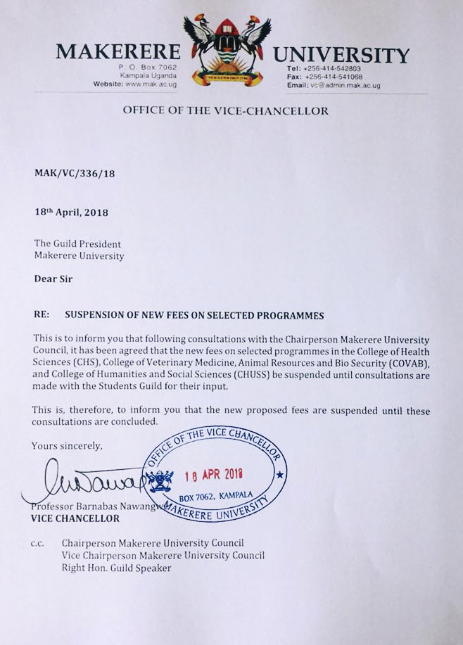 Makerere Suspends Increments On Tuition Fees - Grapevine News
